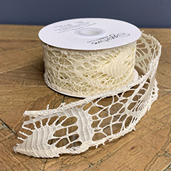 Lace Ribbon Cream, (Set/2)