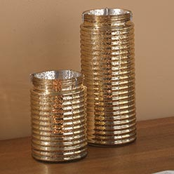 Ribbed Glass Tealight Holder, Champagne Set of 2