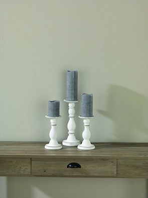Candle Holder Set/3, Whitewash
