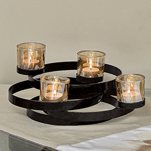 Rings Tealight Centerpiece, Black