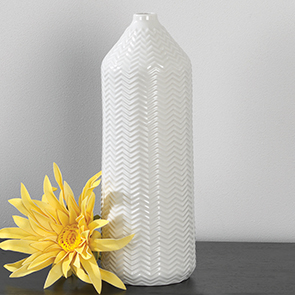 Chevron Vase Tall, White
