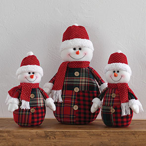 Country Plaid Snowman Family