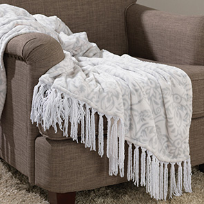 Fringed Paisley Throw, Gray