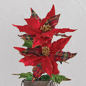 Plaid Poinsettia Pick Set