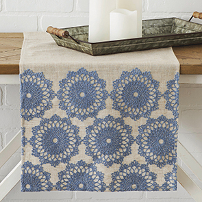 Lacy Flowers Runner, Blue