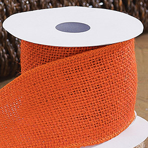 Burlap Ribbon, Orange (Set of 2)