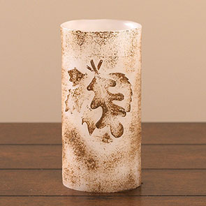 LED Candle, Embossed Leaf 6""