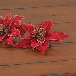 Burlap Poinsettia Clip Set, Red