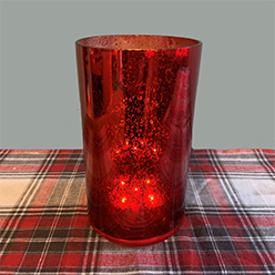 LED Cylinder Vase Short, Red