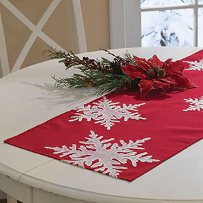 Scattered Snowflakes Runner, Red