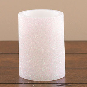 "LED Candle 4"", White Glitter"