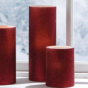 "LED Candle 8"", Red Glitter"