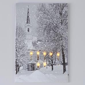 Snowy Church LED Print