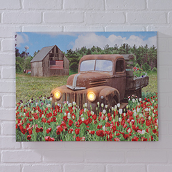 Truck in Flowers LED Print