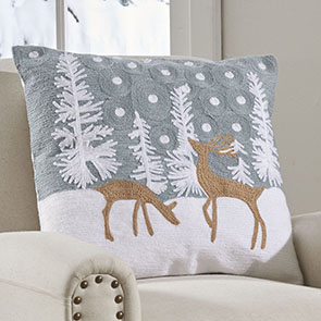 Crewel Reindeer Pillow Cover