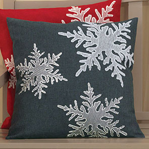 Scattered Snowflakes Pillow Cover, Dark Gray
