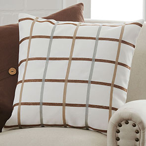 """Squares Pillow Cover, Brown"""