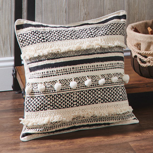 Fringe and Pom Pillow Cover