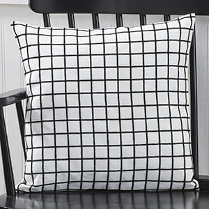 """Small Check Pillow Cover, Black"""