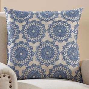 Lacy Flowers Pillow Cover, Blue