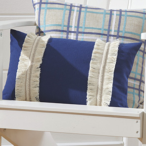 Navy Fringe Pillow Cover
