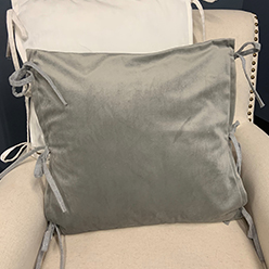 Side Ties Pillow Cover, Gray