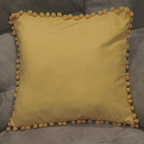 Pom Pom Pillow Cover,Yellow