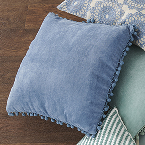 Pom Pom Pillow Cover, Blue