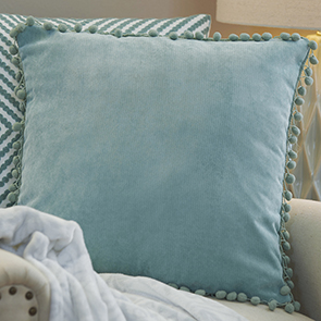 Pom Pom Pillow Cover, Seafoam