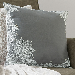 Pearl and Lace Pillow Cover