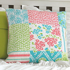 Floral Patch Quilted Pillow Cover