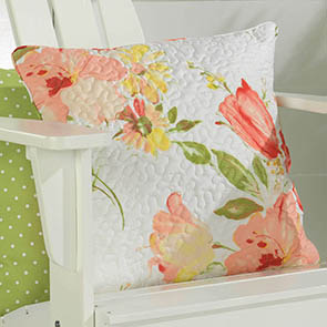 Summer Flowers Quilted Pillow Cover