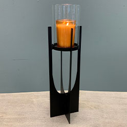 Tall Hurricane Candle Holder, Black
