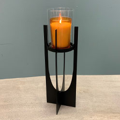 Small Hurricane Candle Holder, Black