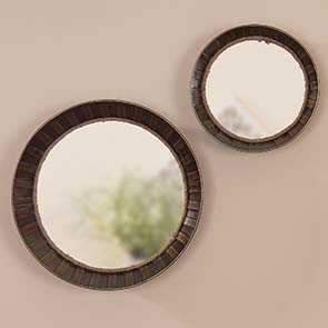 Barrel Mirror Set, Bronze